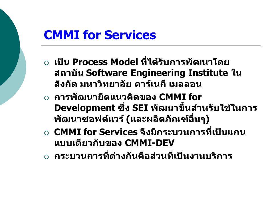 CMMI for Services  เป็น Process Model ที่ได้รับการพัฒนาโดย สถาบัน Software Engineering Institute ใน สังกัด มหาวิทยาลัย คาร์เนกี เมลลอน  การพัฒนายึดแ