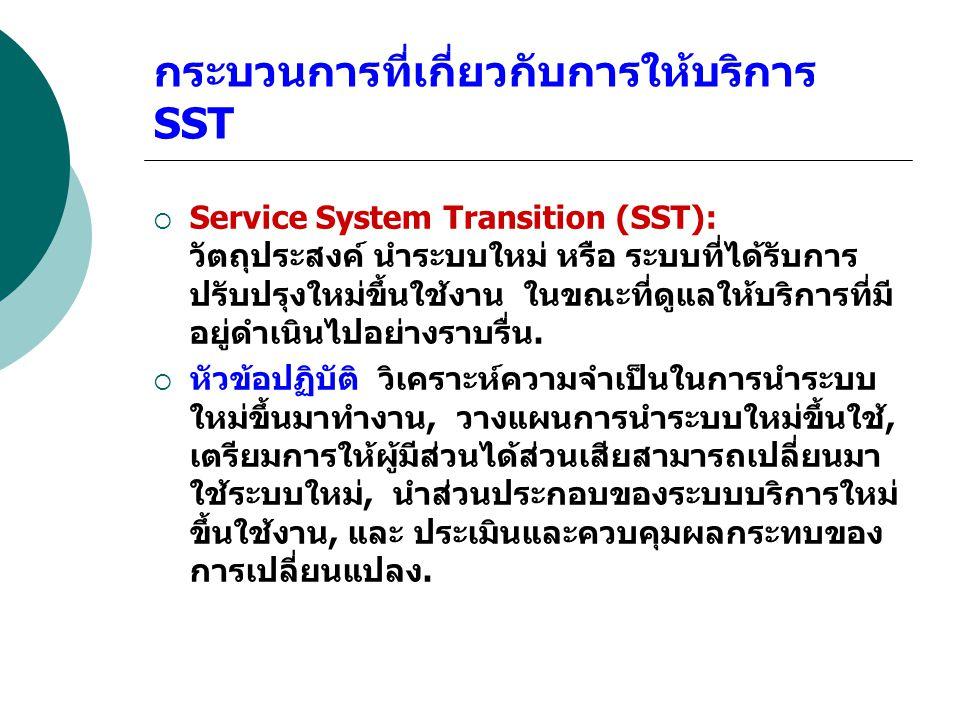 กระบวนการที่เกี่ยวกับการให้บริการ SST  Service System Transition (SST): วัตถุประสงค์ นำระบบใหม่ หรือ ระบบที่ได้รับการ ปรับปรุงใหม่ขึ้นใช้งาน ในขณะที่
