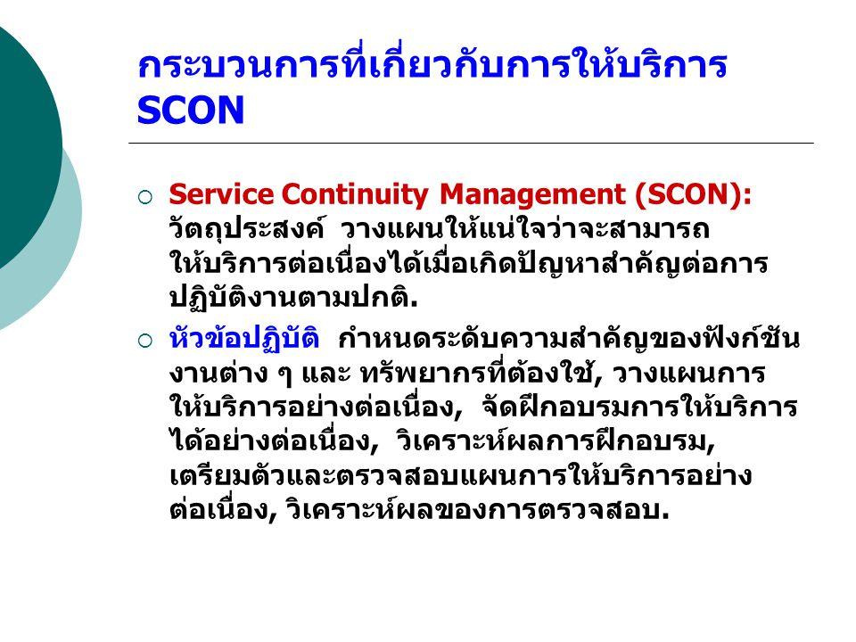 กระบวนการที่เกี่ยวกับการให้บริการ SCON  Service Continuity Management (SCON): วัตถุประสงค์ วางแผนให้แน่ใจว่าจะสามารถ ให้บริการต่อเนื่องได้เมื่อเกิดปั