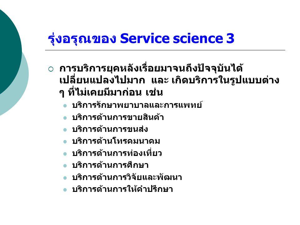รุ่งอรุณของ Service science 3  การบริการยุคหลังเรื่อยมาจนถึงปัจจุบันได้ เปลี่ยนแปลงไปมาก และ เกิดบริการในรูปแบบต่าง ๆ ที่ไม่เคยมีมาก่อน เช่น บริการรั