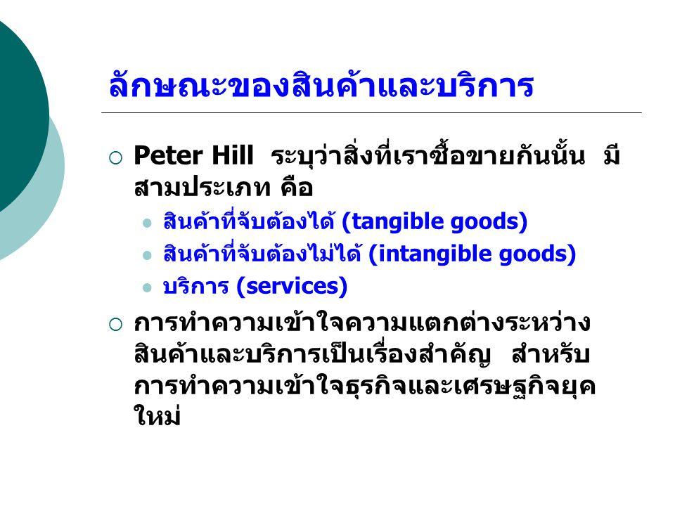 ลักษณะของสินค้าและบริการ  Peter Hill ระบุว่าสิ่งที่เราซื้อขายกันนั้น มี สามประเภท คือ สินค้าที่จับต้องได้ (tangible goods) สินค้าที่จับต้องไม่ได้ (in