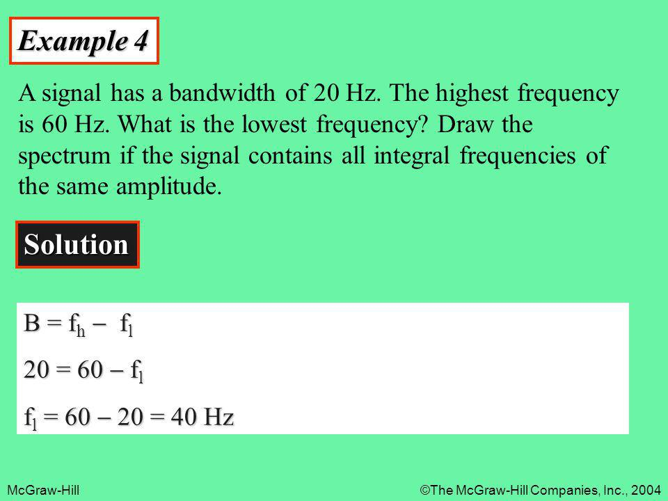 McGraw-Hill©The McGraw-Hill Companies, Inc., 2004 Example 4 A signal has a bandwidth of 20 Hz. The highest frequency is 60 Hz. What is the lowest freq