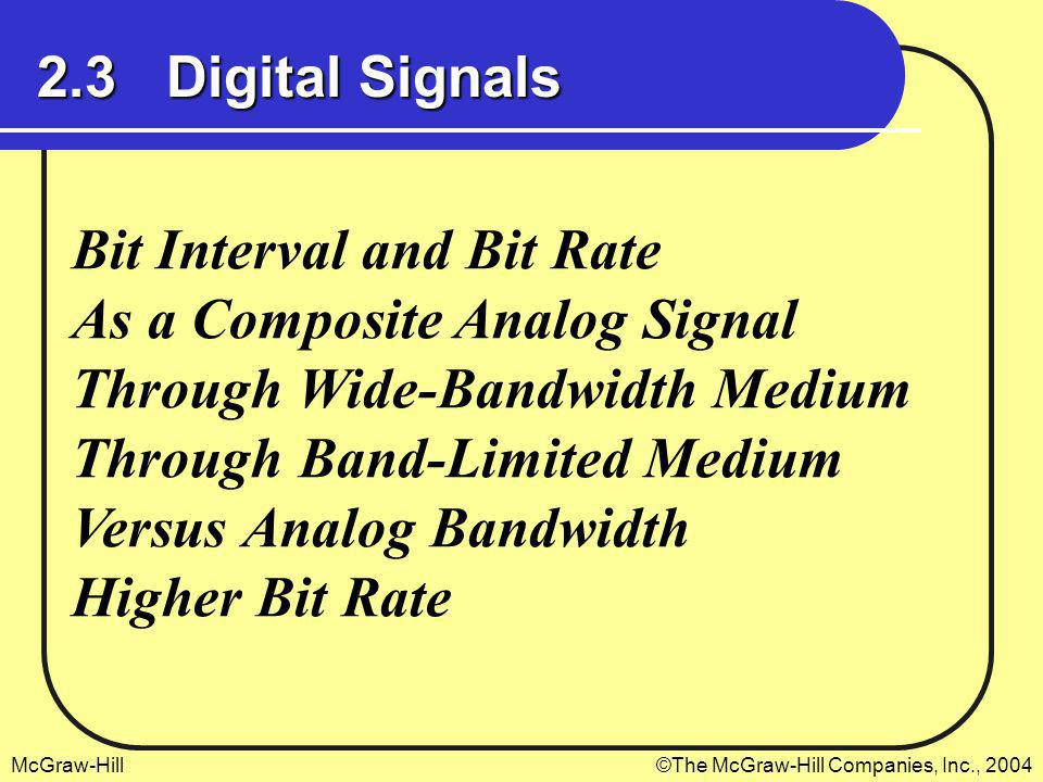 McGraw-Hill©The McGraw-Hill Companies, Inc., 2004 2.3 Digital Signals Bit Interval and Bit Rate As a Composite Analog Signal Through Wide-Bandwidth Me