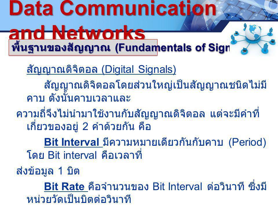 LOGO. ซ www.pcbc.ac.th Data Communication and Networks พื้นฐานของสัญญาณ (Fundamentals of Signals) สัญญาณดิจิตอล (Digital Signals) สัญญาณดิจิตอลโดยส่วน