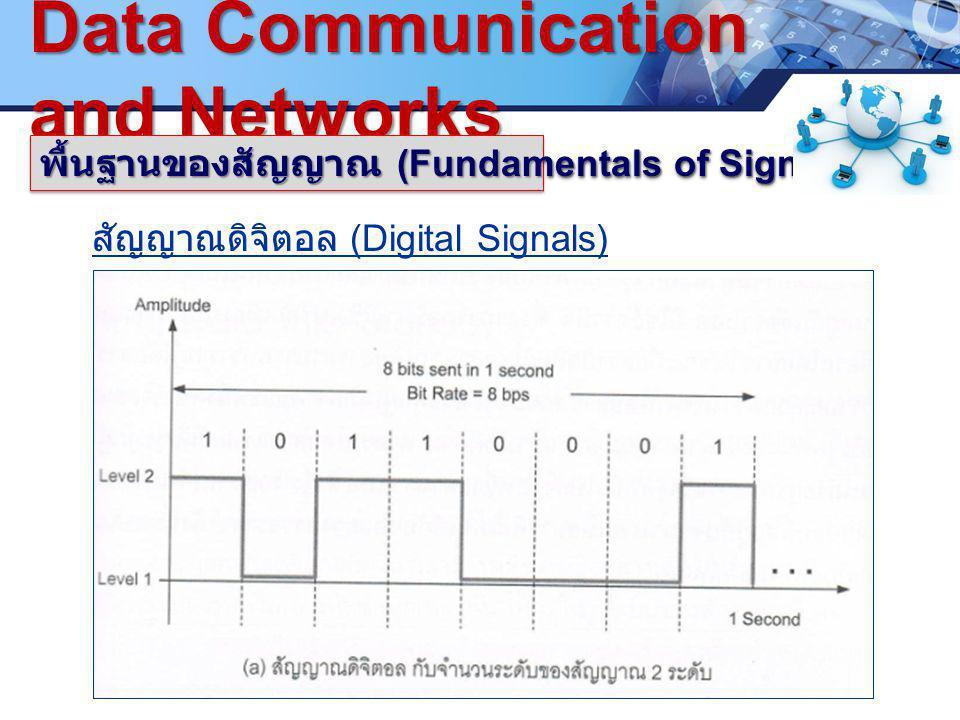 LOGO. ซ www.pcbc.ac.th Data Communication and Networks พื้นฐานของสัญญาณ (Fundamentals of Signals) สัญญาณดิจิตอล (Digital Signals)