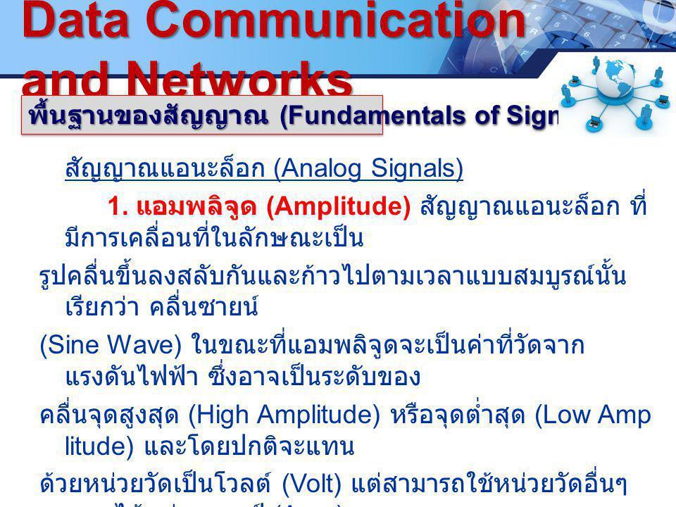 LOGO. ซ www.pcbc.ac.th Data Communication and Networks พื้นฐานของสัญญาณ (Fundamentals of Signals) สัญญาณแอนะล็อก (Analog Signals) 1. แอมพลิจูด (Amplit