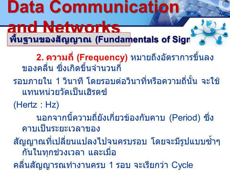 LOGO. ซ www.pcbc.ac.th Data Communication and Networks พื้นฐานของสัญญาณ (Fundamentals of Signals) 2. ความถี่ (Frequency) หมายถึงอัตราการขึ้นลง ของคลื่