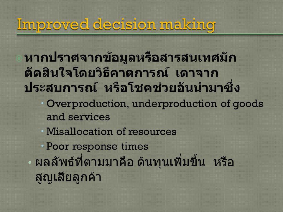  หากปราศจากข้อมูลหรือสารสนเทศมัก ตัดสินใจโดยวิธีคาดการณ์ เดาจาก ประสบการณ์ หรือโชคช่วยอันนำมาซึ่ง  Overproduction, underproduction of goods and services  Misallocation of resources  Poor response times ผลลัพธ์ที่ตามมาคือ ต้นทุนเพิ่มขึ้น หรือ สูญเสียลูกค้า