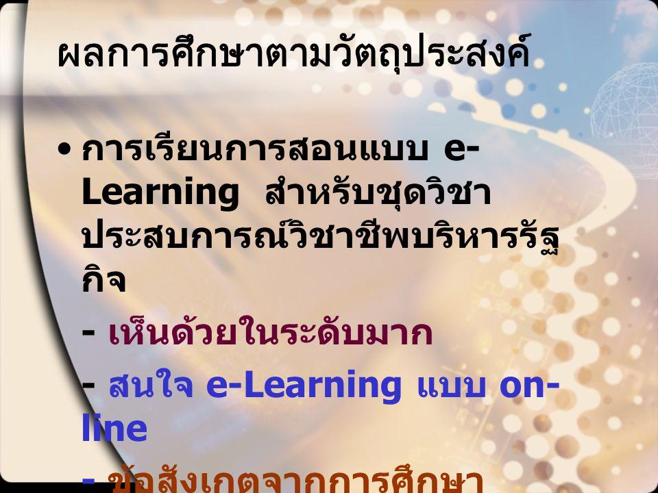 ผลการศึกษาตามวัตถุประสงค์ การเรียนการสอนแบบ e- Learning สำหรับชุดวิชา ประสบการณ์วิชาชีพบริหารรัฐ กิจ - เห็นด้วยในระดับมาก - สนใจ e-Learning แบบ on- li
