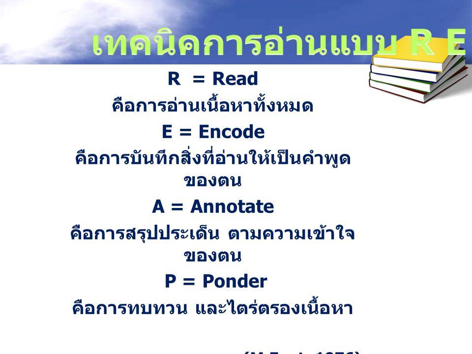 R = Read คือการอ่านเนื้อหาทั้งหมด E = Encode คือการบันทึกสิ่งที่อ่านให้เป็นคำพูด ของตน A = Annotate คือการสรุปประเด็น ตามความเข้าใจ ของตน P = Ponder ค