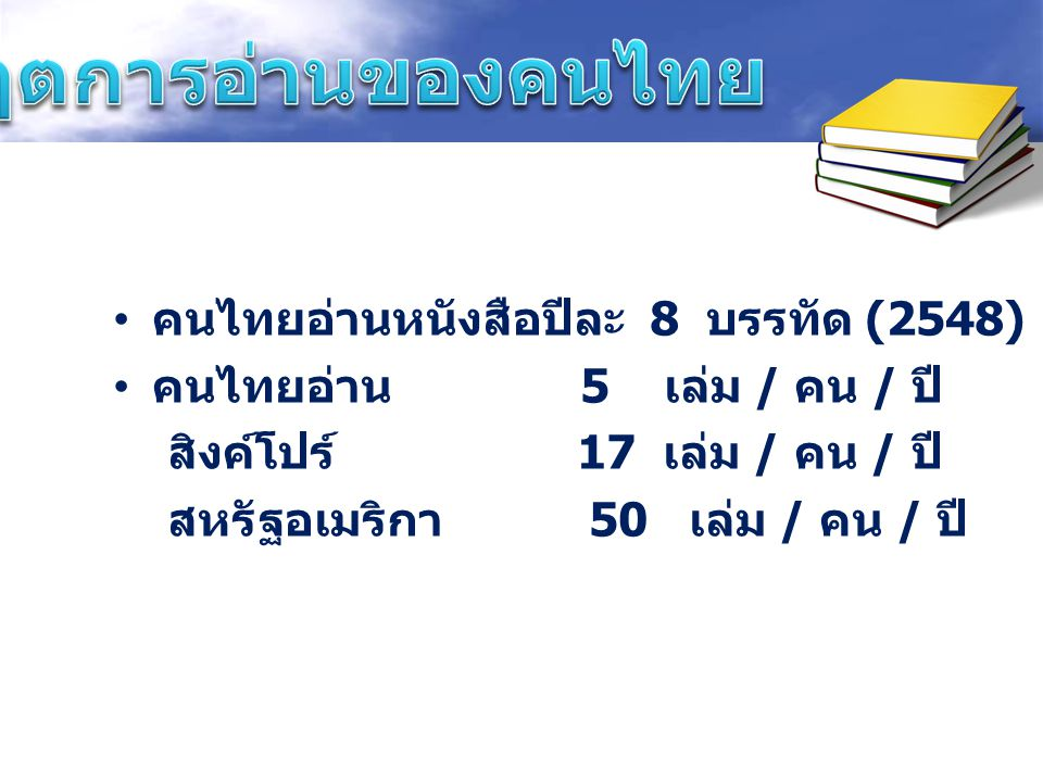 คนไทยอ่านหนังสือปีละ 8 บรรทัด (2548) คนไทยอ่าน 5 เล่ม / คน / ปี สิงค์โปร์ 17 เล่ม / คน / ปี สหรัฐอเมริกา 50 เล่ม / คน / ปี