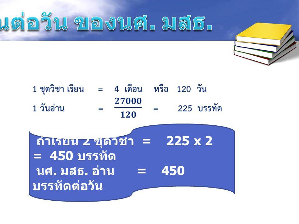 ถ้าเรียน 2 ชุดวิชา = 225 x 2 = 450 บรรทัด นศ. มสธ. อ่าน = 450 บรรทัดต่อวัน