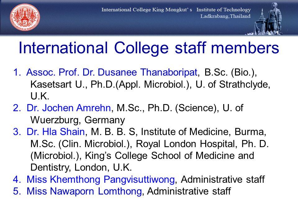 International College staff members 1. Assoc. Prof. Dr. Dusanee Thanaboripat, B.Sc. (Bio.), Kasetsart U., Ph.D.(Appl. Microbiol.), U. of Strathclyde,