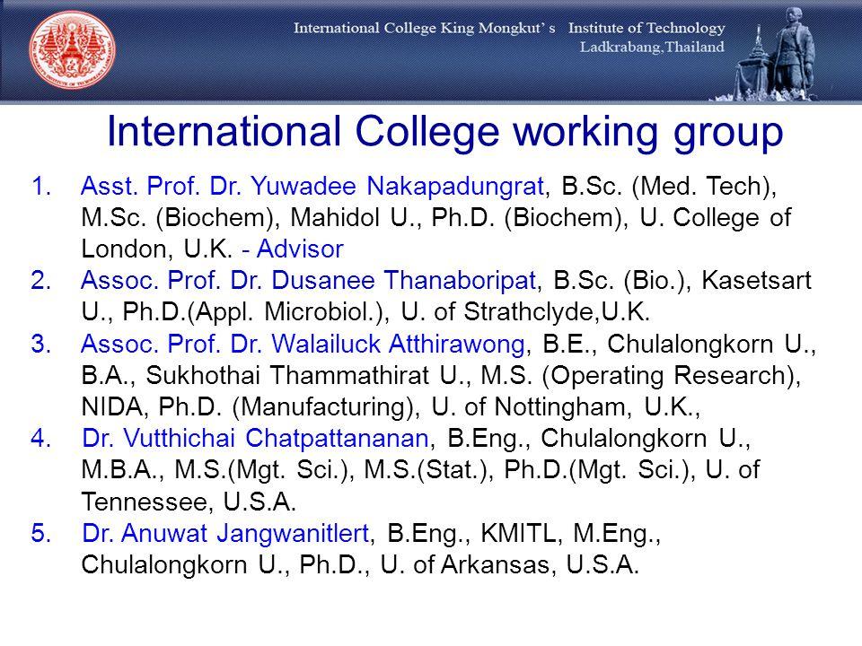 International College working group 1.Asst. Prof. Dr. Yuwadee Nakapadungrat, B.Sc. (Med. Tech), M.Sc. (Biochem), Mahidol U., Ph.D. (Biochem), U. Colle