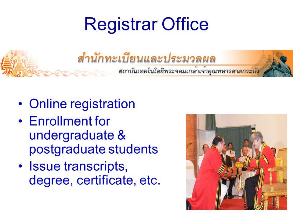 Registrar Office Online registration Enrollment for undergraduate & postgraduate students Issue transcripts, degree, certificate, etc.