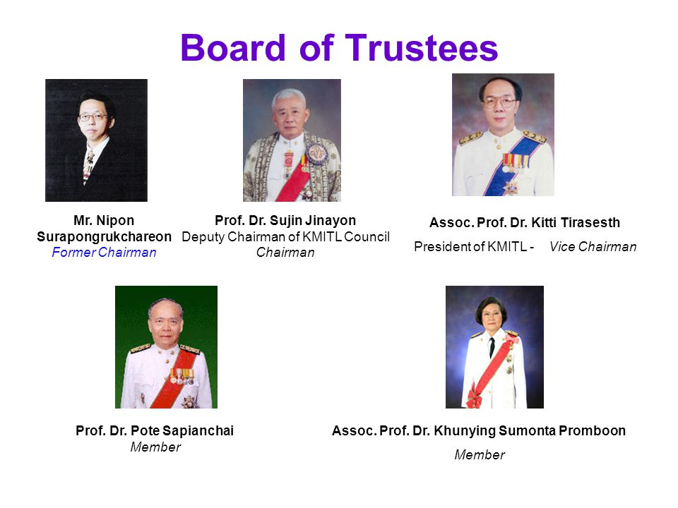Board of Trustees Assoc.Prof. Dr. Kitti Tirasesth President of KMITL - Vice Chairman Prof.