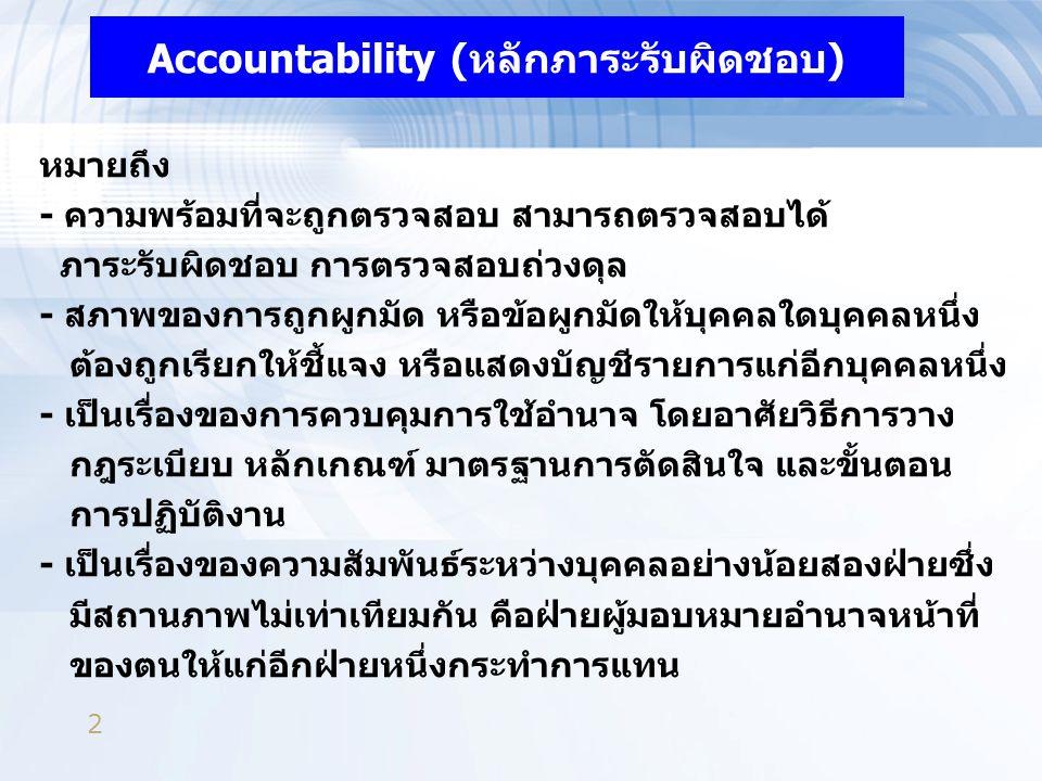 2 Accountability (หลักภาระรับผิดชอบ) หมายถึง - ความพร้อมที่จะถูกตรวจสอบ สามารถตรวจสอบได้ ภาระรับผิดชอบ การตรวจสอบถ่วงดุล - สภาพของการถูกผูกมัด หรือข้อ