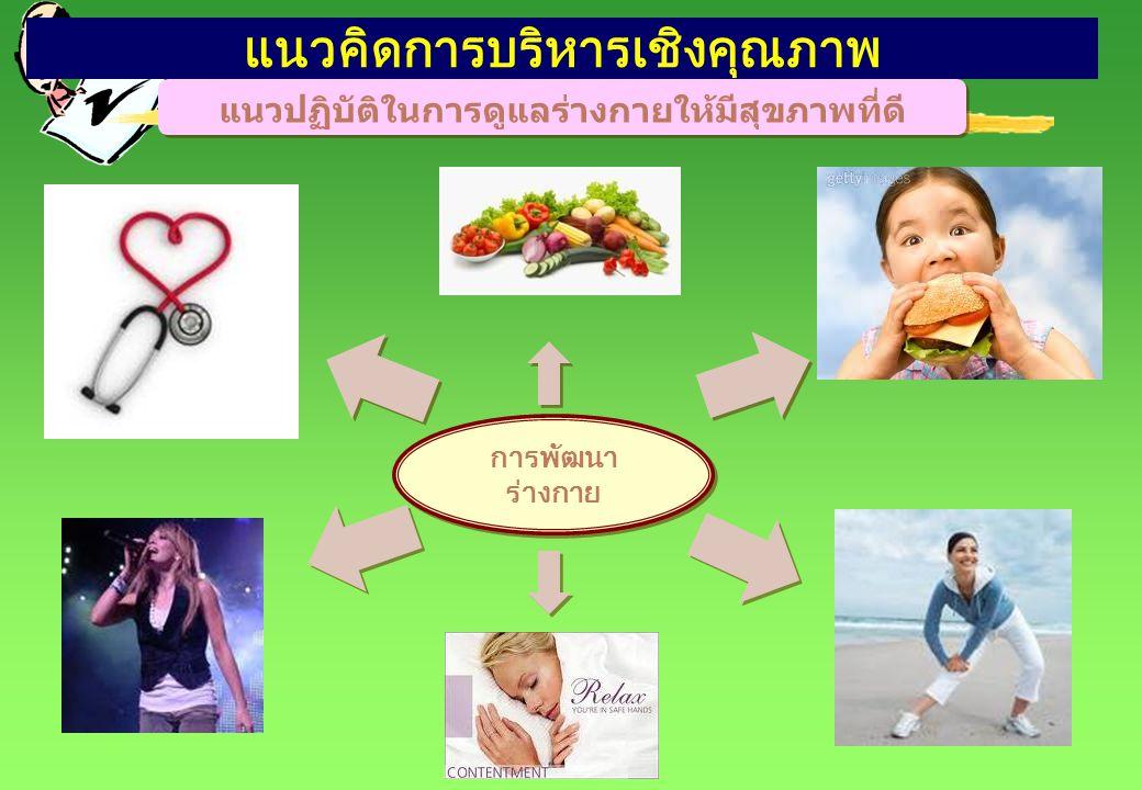 แนวคิดการบริหารเชิงคุณภาพ แนวปฏิบัติในการดูแลร่างกายให้มีสุขภาพที่ดี การพัฒนา ร่างกาย