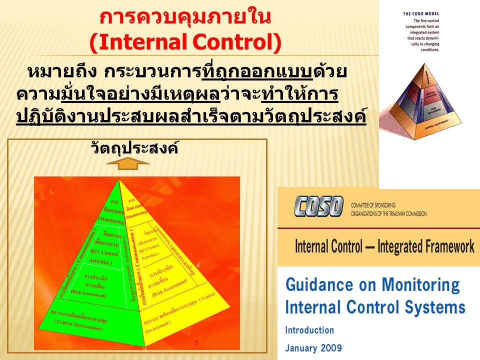 2 หมายถึง กระบวนการที่ถูกออกแบบด้วย ความมั่นใจอย่างมีเหตุผลว่าจะทำให้การ ปฏิบัติงานประสบผลสำเร็จตามวัตถุประสงค์ การควบคุมภายใน (Internal Control) วัตถ