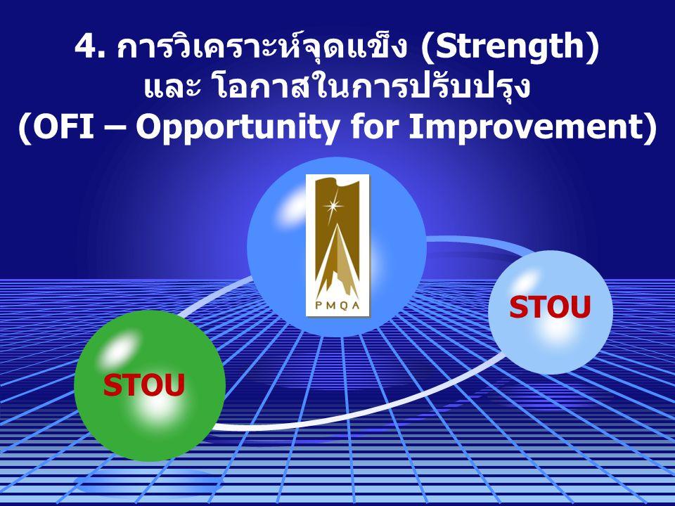 4. การวิเคราะห์จุดแข็ง (Strength) และ โอกาสในการปรับปรุง (OFI – Opportunity for Improvement) STOU