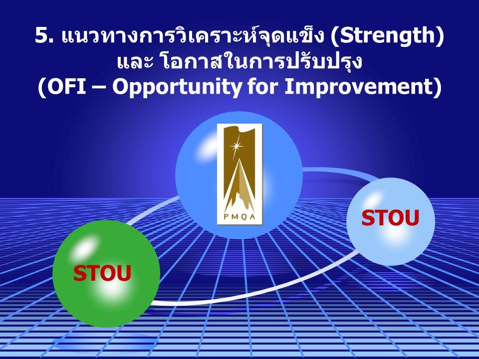 5. แนวทางการวิเคราะห์จุดแข็ง (Strength) และ โอกาสในการปรับปรุง (OFI – Opportunity for Improvement) STOU