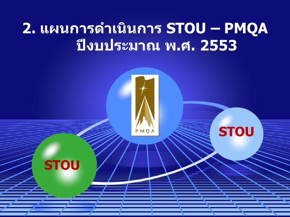 2. แผนการดำเนินการ STOU – PMQA ปีงบประมาณ พ.ศ. 2553 STOU