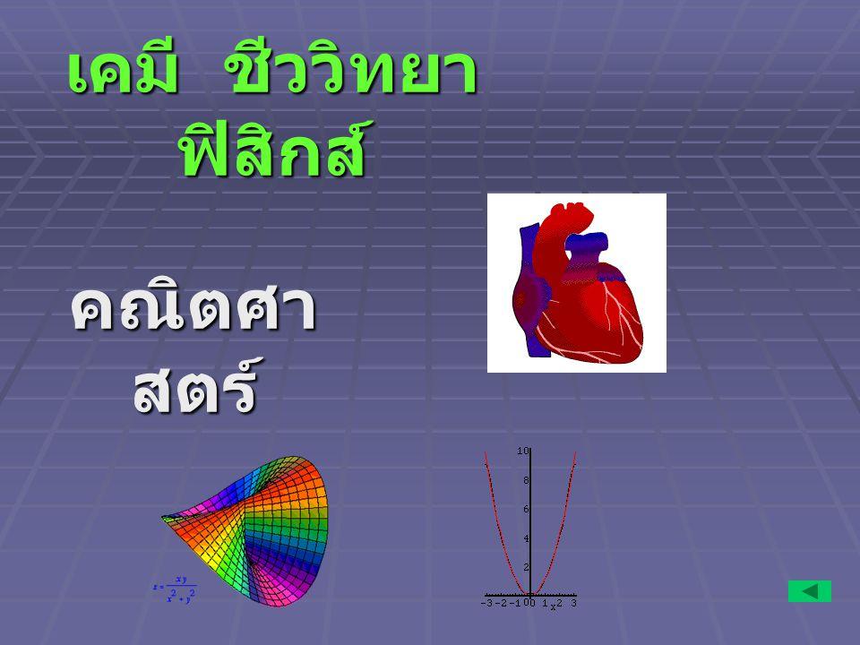 เคมี ชีววิทยา ฟิสิกส์ คณิตศา สตร์