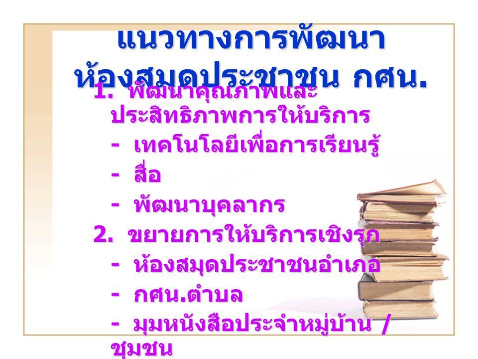 แนวทางการพัฒนา ห้องสมุดประชาชน กศน.1.