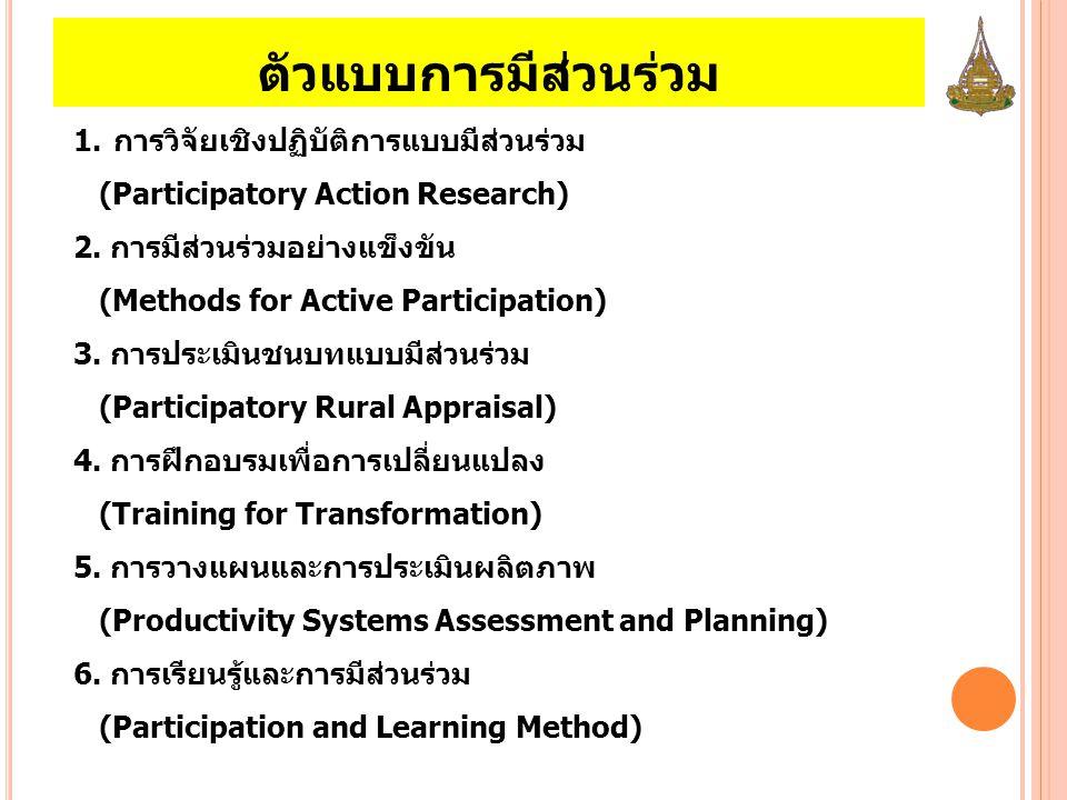 ตัวแบบการมีส่วนร่วม 1.การวิจัยเชิงปฏิบัติการแบบมีส่วนร่วม (Participatory Action Research) 2. การมีส่วนร่วมอย่างแข็งขัน (Methods for Active Participati