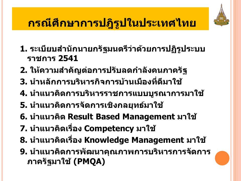 กรณีศึกษาการปฎิรูปในประเทศไทย 1.ระเบียบสำนักนายกรัฐมนตรีว่าด้วยการปฏิรูประบบ ราชการ 2541 2.