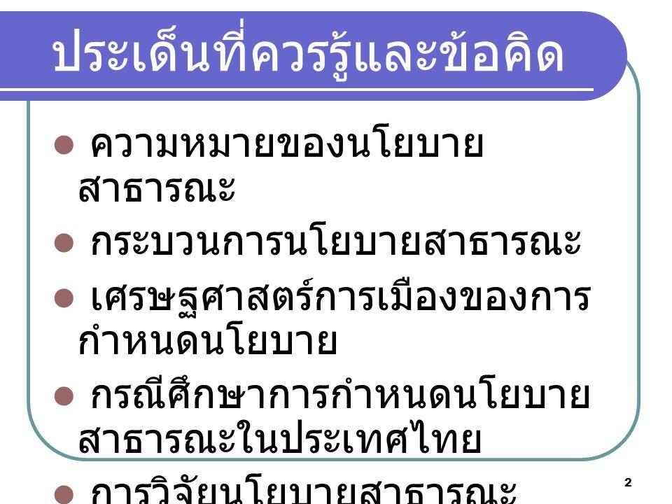 2 ประเด็นที่ควรรู้และข้อคิด ความหมายของนโยบาย สาธารณะ กระบวนการนโยบายสาธารณะ เศรษฐศาสตร์การเมืองของการ กำหนดนโยบาย กรณีศึกษาการกำหนดนโยบาย สาธารณะในประเทศไทย การวิจัยนโยบายสาธารณะ