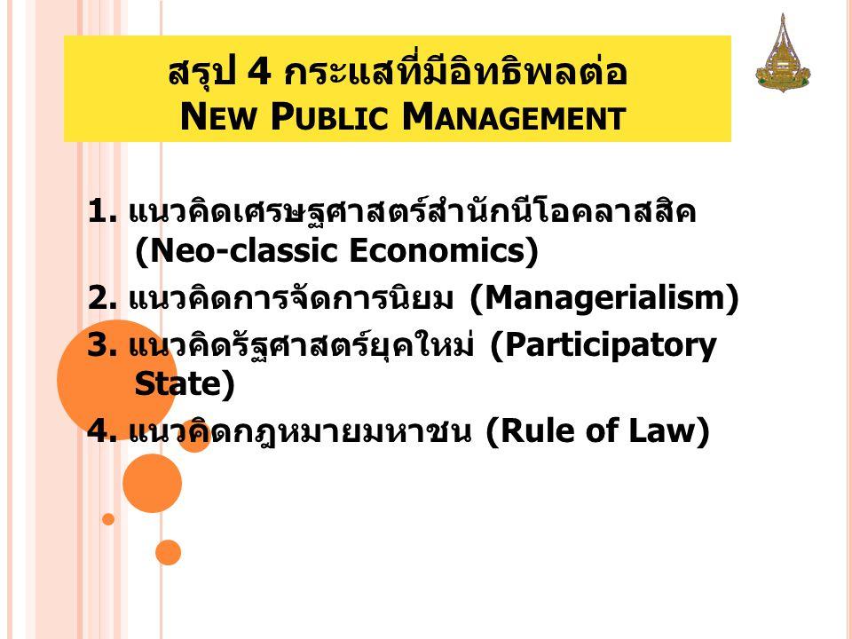 สรุป 4 กระแสที่มีอิทธิพลต่อ N EW P UBLIC M ANAGEMENT 1. แนวคิดเศรษฐศาสตร์สำนักนีโอคลาสสิค (Neo-classic Economics) 2. แนวคิดการจัดการนิยม (Managerialis
