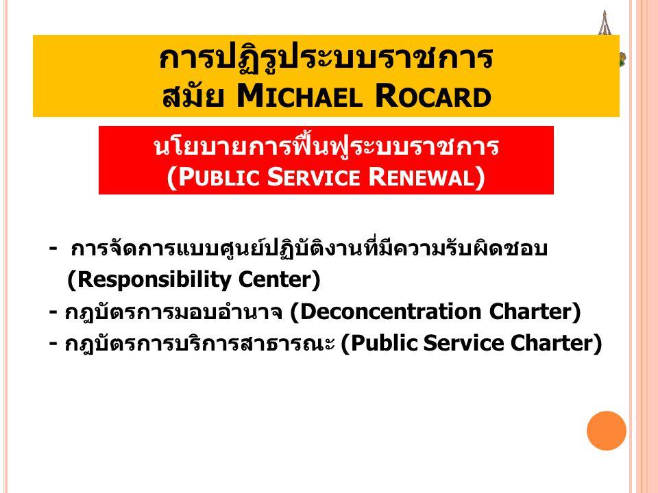การปฏิรูประบบราชการ สมัย M ICHAEL R OCARD - การจัดการแบบศูนย์ปฏิบัติงานที่มีความรับผิดชอบ (Responsibility Center) - กฎบัตรการมอบอำนาจ (Deconcentration
