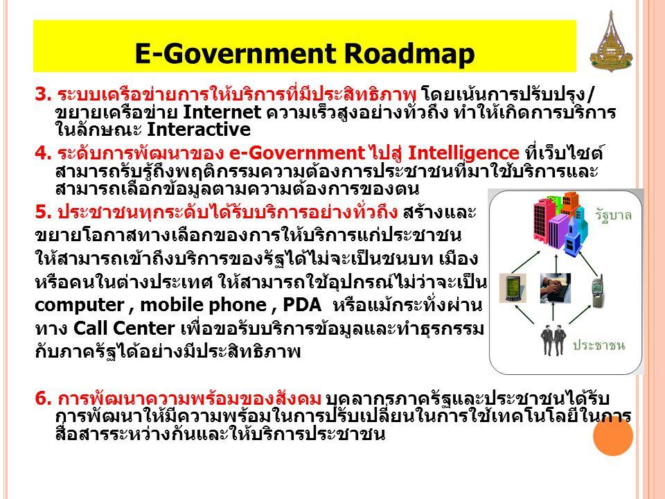 E-Government Roadmap 3. ระบบเครือข่ายการให้บริการที่มีประสิทธิภาพ โดยเน้นการปรับปรุง/ ขยายเครือข่าย Internet ความเร็วสูงอย่างทั่วถึง ทำให้เกิดการบริกา