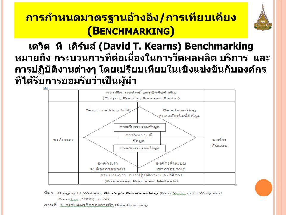 การกำหนดมาตรฐานอ้างอิง/การเทียบเคียง (B ENCHMARKING ) เดวิด ที เคิร์นส์ (David T. Kearns) Benchmarking หมายถึง กระบวนการที่ต่อเนื่องในการวัดผลผลิต บริ