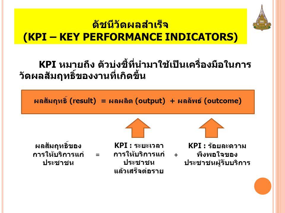 ดัชนีวัดผลสำเร็จ (KPI – KEY PERFORMANCE INDICATORS) KPI หมายถึง ตัวบ่งชี้ที่นำมาใช้เป็นเครื่องมือในการ วัดผลสัมฤทธิ์ของงานที่เกิดขึ้น ผลสัมฤทธิ์ (resu