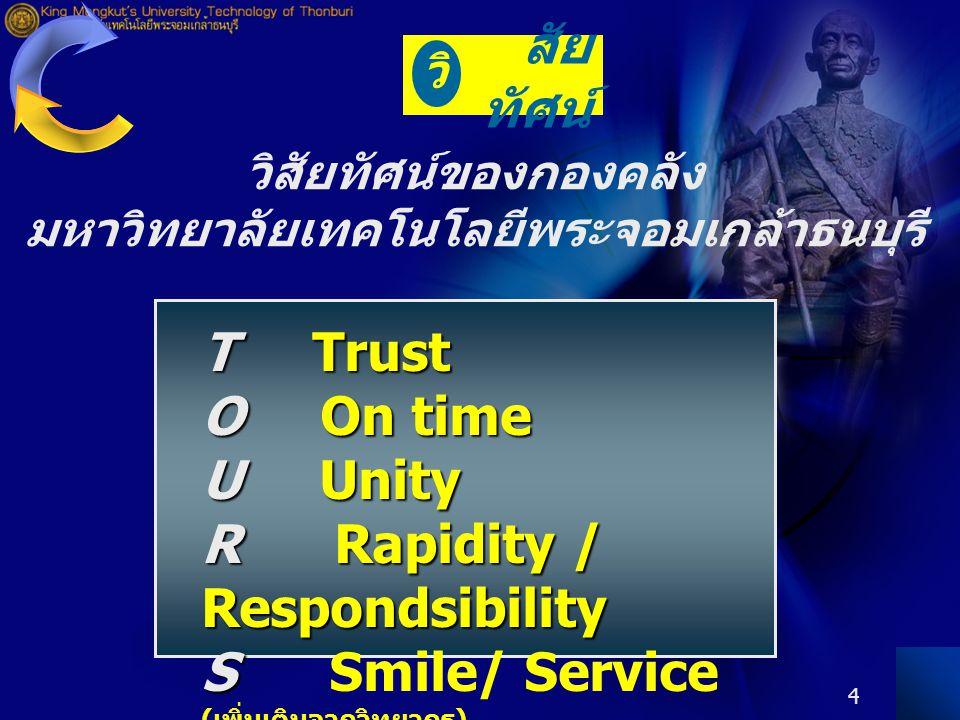 4 T Trust O On time U Unity R Rapidity / Respondsibility S S Smile/ Service ( เพิ่มเติมจากวิทยากร ) สัย ทัศน์ วิ วิสัยทัศน์ของกองคลัง มหาวิทยาลัยเทคโนโลยีพระจอมเกล้าธนบุรี