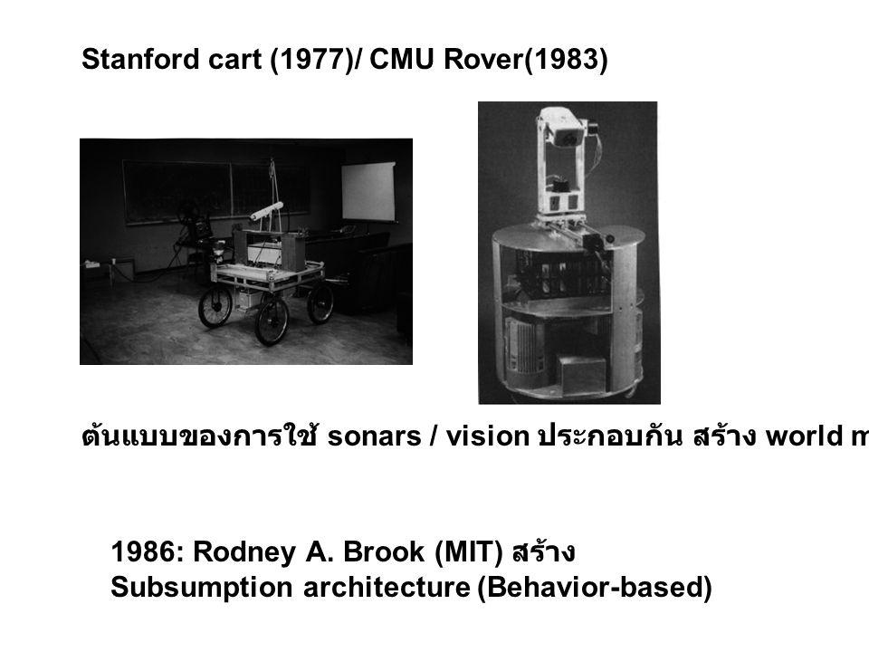 Stanford cart (1977)/ CMU Rover(1983) ต้นแบบของการใช้ sonars / vision ประกอบกัน สร้าง world model 1986: Rodney A. Brook (MIT) สร้าง Subsumption archit