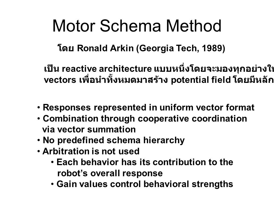 Motor Schema Method โดย Ronald Arkin (Georgia Tech, 1989) เป็น reactive architecture แบบหนึ่งโดยจะมองทุกอย่างให้เป็น vectors เพื่อนำทั้งหมดมาสร้าง potential field โดยมีหลักการดังนี้ Responses represented in uniform vector format Combination through cooperative coordination via vector summation No predefined schema hierarchy Arbitration is not used Each behavior has its contribution to the robot's overall response Gain values control behavioral strengths