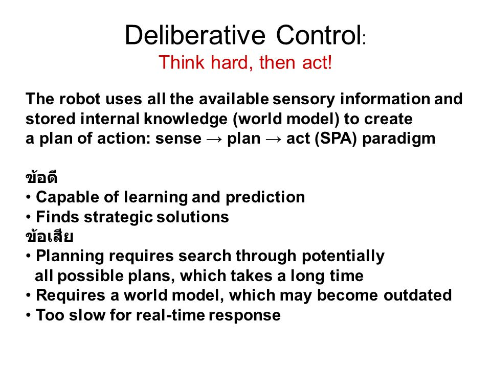 Deliberative Control : Think hard, then act.
