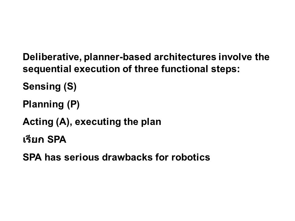 Deliberative, planner-based architectures involve the sequential execution of three functional steps: Sensing (S) Planning (P) Acting (A), executing the plan เรียก SPA SPA has serious drawbacks for robotics