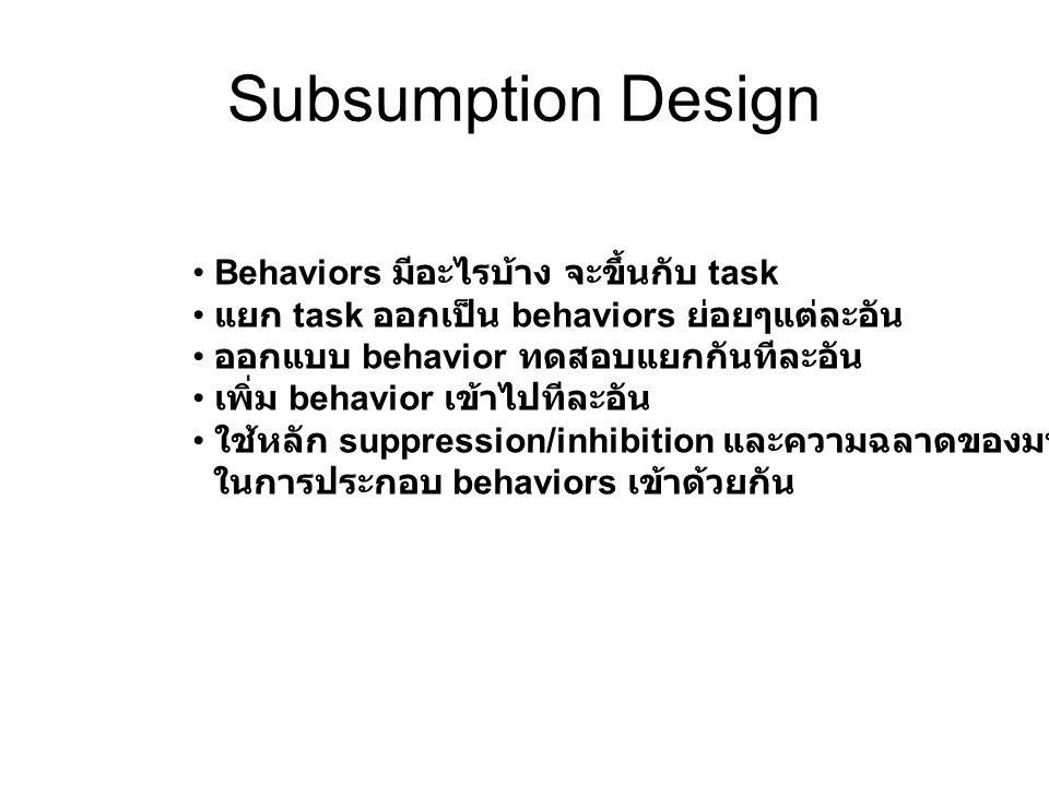 Subsumption Design Behaviors มีอะไรบ้าง จะขึ้นกับ task แยก task ออกเป็น behaviors ย่อยๆแต่ละอัน ออกแบบ behavior ทดสอบแยกกันทีละอัน เพิ่ม behavior เข้า