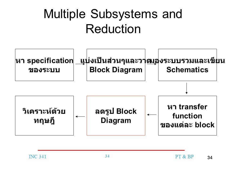 34 INC 341 34 PT & BP Multiple Subsystems and Reduction หา specification ของระบบ แบ่งเป็นส่วนๆและวาด Block Diagram มองระบบรวมและเขียน Schematics หา transfer function ของแต่ละ block ลดรูป Block Diagram วิเคราะห์ด้วย ทฤษฎี