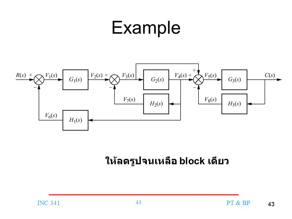 43 INC 341 43 PT & BP Example ให้ลดรูปจนเหลือ block เดียว
