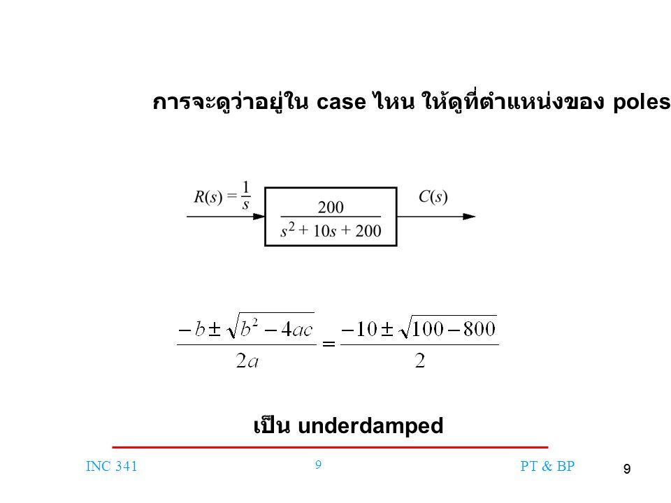 99 INC 341 9 PT & BP การจะดูว่าอยู่ใน case ไหน ให้ดูที่ตำแหน่งของ poles เช่น เป็น underdamped