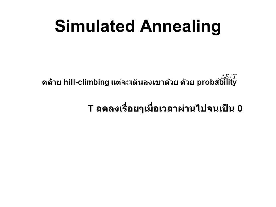 Simulated Annealing คล้าย hill-climbing แต่จะเดินลงเขาด้วย ด้วย probability T ลดลงเรื่อยๆเมื่อเวลาผ่านไปจนเป็น 0