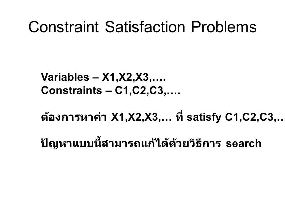 Constraint Satisfaction Problems Variables – X1,X2,X3,…. Constraints – C1,C2,C3,…. ต้องการหาค่า X1,X2,X3,… ที่ satisfy C1,C2,C3,…. ปัญหาแบบนี้สามารถแก