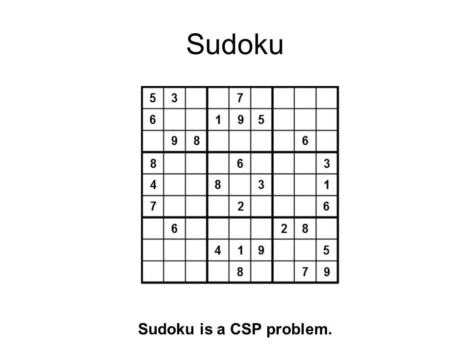 Sudoku Sudoku is a CSP problem.