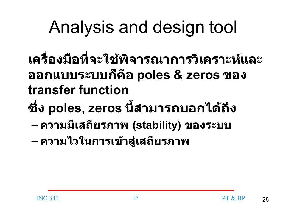 25 INC 341 25 PT & BP Analysis and design tool เครื่องมือที่จะใช้พิจารณาการวิเคราะห์และ ออกแบบระบบก็คือ poles & zeros ของ transfer function ซึ่ง poles