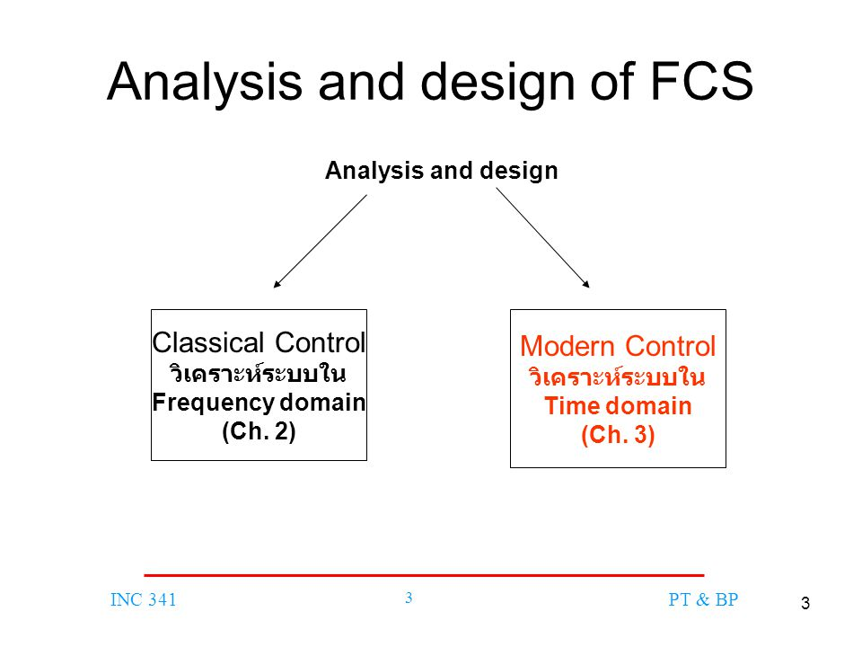 3 INC 341 3 PT & BP Analysis and design of FCS Modern Control วิเคราะห์ระบบใน Time domain (Ch. 3) Classical Control วิเคราะห์ระบบใน Frequency domain (
